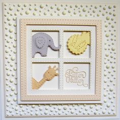 Hi bloggers!  I have a fun baby card for you today!  I started by cutting a JustRite die called Four In A Square die  in white as I wan...