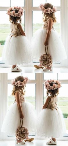 Boho Prom Dress, A-Line Round Neck Ankle-Length White Tulle Flower Girl Dress with Beading Bow, cute white flower girl dresses, princess birthday dress - Paje Boda - Princess Flower Girl Dresses, Tulle Flower Girl, White Flower Girl Dresses, Tulle Flowers, Girls Dresses, Wedding Flower Girls, Flower Girl Crown, Flower Crowns, Dress Girl