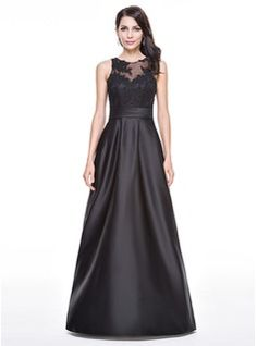 A-Line/Princess Scoop Neck Floor-Length Satin Tulle Evening Dress With Ruffle Beading Appliques Lace Sequins
