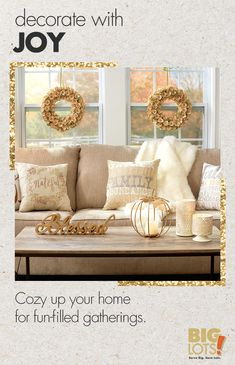 Tis the season for cute and cozy decor! With Big Lots, you can deck out your home for Thanksgiving and beyond. Your family and friends will love to gather in your home. Tap the Pin to get ready for hosting over the holidays.