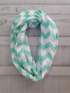Mint Chevron Infinity Scarf by oneforonecreations on Etsy, $18.00
