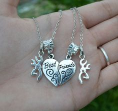 Matching Best Friend with Buck Charm Necklace by TexasHospitality - only $12.50 for the set! ----------------- Best friend | country girl | browning | jewelry | cute | handmade | redneck | camo |