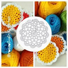Colorful Cups and Pitcher Door Kit! Crochet Butterfly, Crochet Circles, Crochet Stitches Patterns, Crochet Squares, Crochet Flowers, Crochet Diy, Crochet Home, Irish Crochet, Crochet Doilies