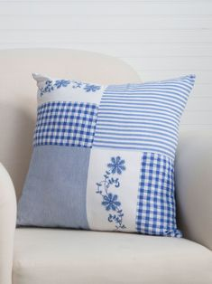 Beautiful blues overflowing with easy summertime charm! Such a pretty combination of classic plaid, hand-worked embroidery and old fashioned ticking stripes, the Picnic Patchwork artfully arranges the best of our past for the home of today. Sewing Pillow Patterns, Hand Quilting Patterns, Sewing Pillows, Diy Pillows, Embroidery Patterns, Embroidery Art, Embroidery Stitches, Foam Cushions, Quilting Designs