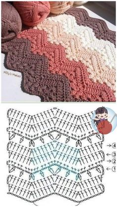 Crochet Bedspread Pattern, Granny Square Crochet Pattern, Crochet Diagram, Crochet Stitches Patterns, Crochet Chart, Crochet Designs, Stitch Patterns, Knitting Patterns, Crochet Ripple