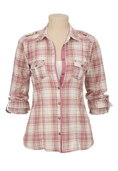 Lace up Back Plaid Button Down Shirt available at #maurices