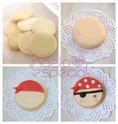 Galletas piratas Pirate Cookies, Pirate Cupcake, Indian Birthday Parties, Birthday Party Themes, Pirate Birthday, Pirate Theme, Fancy Cookies, Cupcake Cookies, Halloween Cookies Decorated