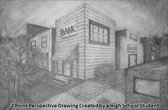 This two point perspective drawing of a city scene was created by a high school student.