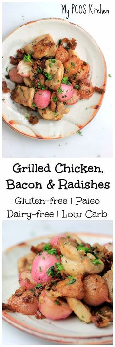 My PCOS Kitchen - Grilled Chicken Bacon & Radishes - A delicious low carb gluten-free paleo & keto quick meal or side dish! My PCOS Kitchen - Grilled Chicken Bacon & Radishes - A delicious low carb gluten-free paleo & keto quick meal or side dish! Chicken Bacon, Grilled Chicken, Keto Chicken, Chicken Recipes, Boneless Chicken, Healthy Gluten Free Recipes, Low Carb Recipes, Sin Gluten, Keto Side Dishes