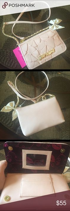 """NEW! BETSEY JOHNSON BLUSH CROSS BODY BAG BRAND NEW! AUTHENTIC BETSEY JOHNSON BLUSH CROSS BODY BAG-Approximate Measurements-9"""" X 6""""? & 23"""" strap drop....NEVER USED!! EXCELLENT NEW CONDITION!! Betsey Johnson Bags Crossbody Bags"""