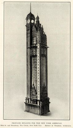 Proposed design for the New York American Journal Headquarters, New York City