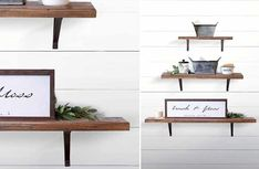 Wood and metal industrial style wall shelves set of 3