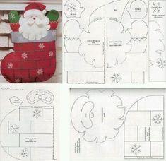 Bota de navidad, con santa - I made a stack of these. They are easy to make. Felt Christmas Decorations, Felt Christmas Ornaments, Christmas Stockings, Christmas Makes, All Things Christmas, Christmas Holidays, Christmas Projects, Felt Crafts, Holiday Crafts