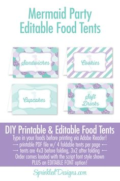 Mermaid Party Decorations - Printable Food Tents Editable Text Place Cards - Mermaid Decor, Mermaid Birthday Under the Sea Party Decorations by SprinkledDesign on Etsy https://www.etsy.com/listing/473844703/mermaid-party-decorations-printable-food