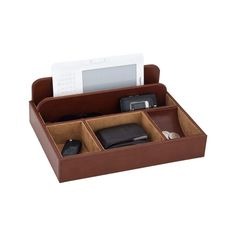 """This handsome James men's valet from Reed & Barton features an open design, perfect for storing everything important after a busy day. Finished in brown bonded leather, this valet features two slots to hold and charge electronics safely. Additional storage for coins, keys, wallet, eyeglasses, and pens. 11 x 8 x 4"""" high.  Free shipping & easy 30-day returns. Fabulous jewelry. Great prices. Since 1952."""