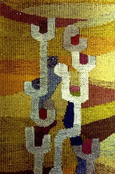 """Gunta Stolzl - """"Spring"""" Detail Wall carpet 1970 200x60 cm Private collection"""