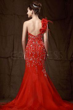 Fantastic Mermaid Court Train One-Shoulder Sandra's Evening Dress 2