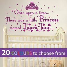 PERSONALISED ONCE UPON A TIME PRINCESS NAME wall art sticker/decal for baby girls nursery, bedroom, playroom