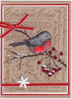 Christmas Bird on branch - inspired by: minna0402 on flckr 2012