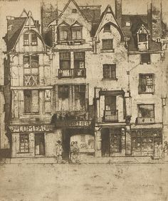 PLACE PLUMEREAU, TOURS by  Sir David Young Cameron(Scottish, 1865-1945)(ETCHING WITH DRY-POINT)