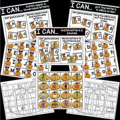 Pumpkin ELA activities Abc Phonics, Kindergarten, Cvce Words, Halloween Math, Upper And Lowercase Letters, Christmas Math, Activities, Word Work, Fine Motor