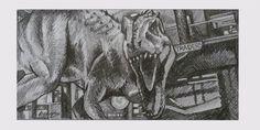 "Indominus Rex / Jurassic World 10""x5"" pencil on bristol paper movie art L M Stephens by LornaMarieArts on Etsy"