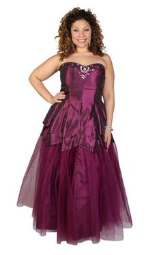 plus size strapless taffeta prom dress with beaded bodice Formal Gowns, Strapless Dress Formal, Prom Dresses, All Things Purple, Plum Color, Tulip, Style Me, Ball Gowns, Bodice