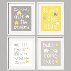 Somewhere Over The Rainbow Yellow and Gray Elephant set for Girl or Boy, Unframed Art Prints