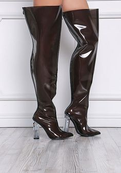 Cape Robbin Black Perspex Thigh High Boots - Cape Robbin - Brands - Clothes
