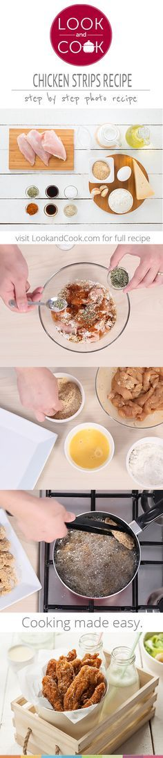 How to make chicken strips CHICKEN STRIPS RECIPE : A very tasty fried chicken dish, which is a good home made replacement to the fast food option. Chicken Strip Recipes, Fried Chicken Recipes, Chicken Strips, Spicy Recipes, Indian Food Recipes, Chicken Recepies, Veg Recipes, Easy Cooking, Healthy Cooking