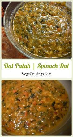 Dal Palak, healthy indian curry made from lentils and spinach, with a very subtle garlicky flavor. #vegan recipes | Recipe with Step By Step Photos
