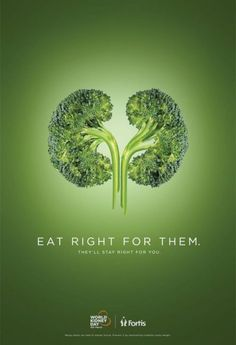 Healthcare Advertising : Campagne pour le World Kidney Day Eat right for them Clever Advertising, Social Advertising, Advertising Poster, Advertising Campaign, Advertising Design, Product Advertising, Guerrilla Marketing, Street Marketing, Poster Ads