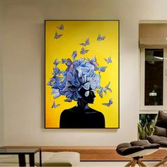 HD Nordic Style Abstract Butterfly Girl Canvas Painting Wall Art Pictures For Living Room Modern Home Decor Posters And Prints. Butterfly Wall Art, Butterfly Painting, Flower Wall, Canvas Wall Art, Wall Art Prints, Yellow Canvas Art, Big Canvas Art, Bird Canvas, Design Poster