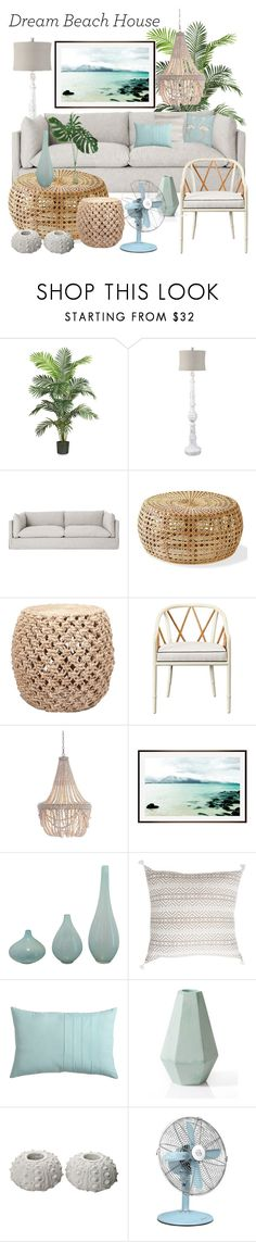 """""""Beach Feels"""" by lauren-whitworth ❤ liked on Polyvore featuring interior, interiors, interior design, home, home decor, interior decorating, Nearly Natural, Surya, Kate Spade and Pottery Barn"""