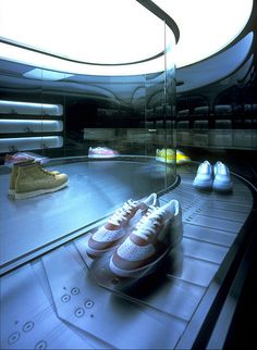 A sneaker shop with the concept, Window Display Retail, Shoe Display, Retail Displays, Ice Cream Sneakers, Belt Shop, Conveyor Belt, Retail Store Design, Toy Theatre, Sport Casual