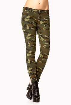 Zippered Camo Skinny Jeans | FOREVER 21 - 2078839672