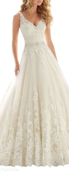 Kittybridal Beaded Lace Wedding Dress with Chapel Train Wher – Wedding Gown Wedding Dress Cinderella, Dream Wedding Dresses, Wedding Dressses, Pretty Dresses, Beautiful Dresses, Big Dresses, Beaded Lace, Wedding Attire, Dream Dress