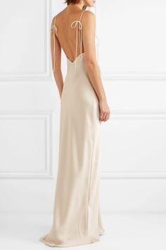 Halfpenny London - Freida Satinkleid - New Ideas Slip Wedding Dress, Sheath Wedding Gown, Classic Wedding Dress, Lace Wedding, London Outfit, Look Formal, Maxi Robes, Satin Gown, The Dress
