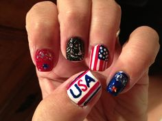Fourth of July nail art.