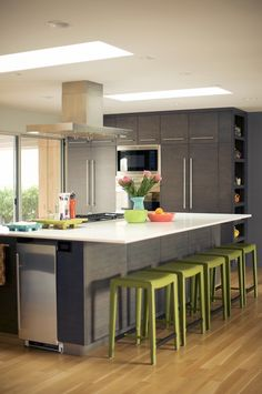 Modern Gray Cabinets with white countertop against bamboo or cork floor