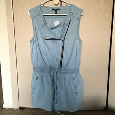 SALE  New Light Denim Jumpsuit Size Large Light Denim Jumpsuit, with pockets that zip and a draw string to tighten. Forever 21 Dresses