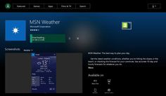 Lapplication universelle MSN Météo débarque sur la console Xbox One ! Vous le savez avec larrivée de la mise à jour anniversaire de Windows 10 pour la Xbox One la console de Microsoft va enfin pouvoir accueillir les applications universelles du Windows Store. Parmi elles lapplication MSN Météo fait son entrée sur le Xbox Store pour les membres du programme Xbox Preview dès aujourdhui !  Voici lapplication MSN Météo désormais téléchargeable pour les utilisateurs de la Xbox One ! Microsoft…
