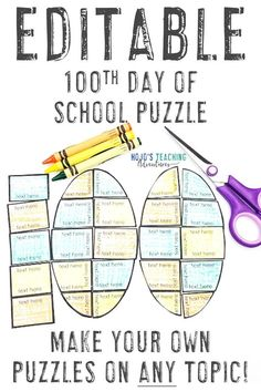 Here are some great 100th day of school games for your 1st, 2nd, 3rd, 4th, 5th, 6th, 7th, or 8th grade classroom or homeschool students. These EDITABLE puzzles will allow you to create your own activities for any topic - math, grammar, sight words, vocabulary, terms, and more. Click through to learn more about how these will make your 100 day the best it can be! (first, second, third, fourth, fifth, sixth, seventh, eighth graders - elementary - middle school)