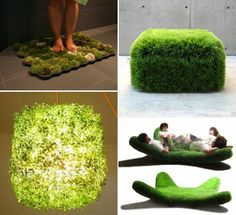 "Love these ideas (the moss mat is on my list of things to try already). They bring ""bringing the outdoors in"" to a whole other level. :-D  Round-Up:  Moss Mats, Grass Beds & Green Walls—Oh My!"