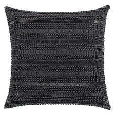 Embroidered with various sized beads taking shape in the form of horizontal stripes, our Empire Pillow is as graphic as it is sophisticated.