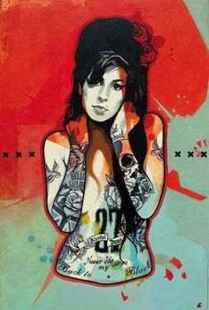 DOPEª Artist: RedApe ~ Amy Winehouse ~ The kick ass paintings of French artist, Frank Deniel, aka RedApe, which diverts the icons of pop culture like Dexter - adds imagination, tattoos & multiple inspirations ~ by Ashley Necole Kiser