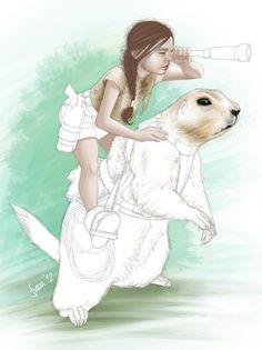 Bestiario: Niña y perro de la pradera. Ilustración a lápiz y color digital//Bestiary: Child and prairie dog. Pencil illustration and digital colour.