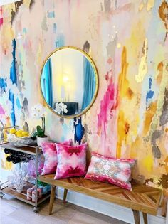 Large Scale Printed Abstract Mustard, Fuchsia, Navy, Removable wall mural tall x wide with gold leaf embellishment kit! Nursery Wall Murals, Wall Decals, Painted Wall Murals, Nursery Stickers, Nursery Room, Wall Mural Painting, Wall Sticker, Gold Wall Decal, Large Painting