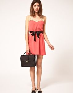 ASOS lace yoke coral dress with sash