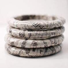 Recycled Japanese newspaper bangles